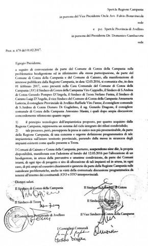 La lettera inviata alla Regione Campania e alla Provincia di Avellino