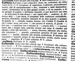 Cultura nel Vocabolario Zingarelli
