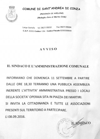 Convocazione di assemblea pubblica s Sant'Andrea di Conza