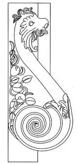Disegno di elemento zoomorfo presente sui due lati di un portale in via Battisti