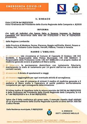 Avviso del Sindaco di Caposele (AV)
