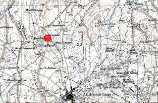 Fig. 1 - Sant'Andrea di Conza (AV), loc. Piano dell'Incoronata. C. Abbruzzese. Il cerchietto in rosso indica il luogo dell'affioramento di materiale antico. Stralcio topografico su IGM, F°. 186 I S.E. Calitri.
