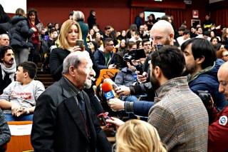 Gerardo Cignarella intervistato nel corso della cerimonia (Prefettura di Avellino)