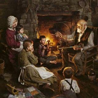 I racconti del nonno vicino al focolare (Immagine www.volterracity.com)
