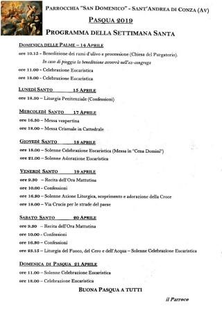 Il programma dei riti della Settimana Santa a Sant'Andrea di Conza